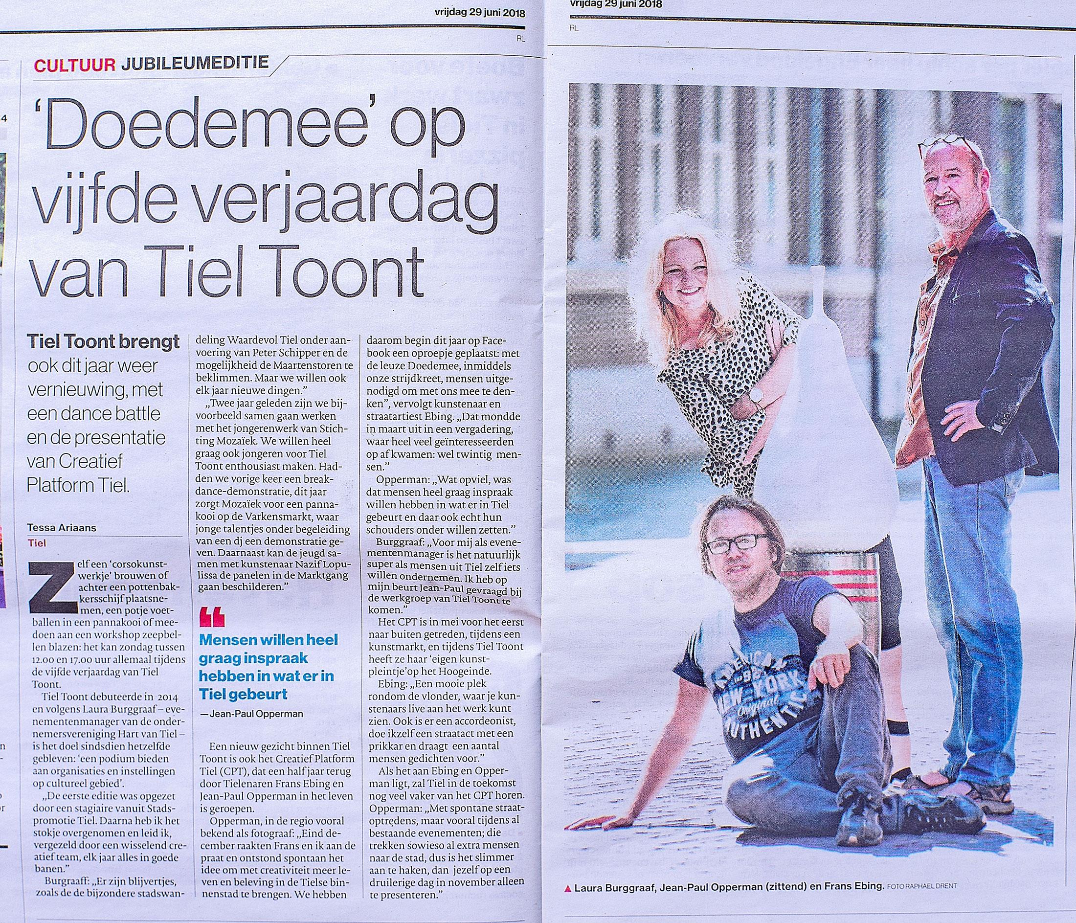 Creatief Platform Tiel en Tiel Toont in de Gelderlander.